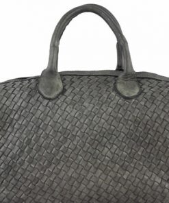 dark grey bag in woven natural leather Ariella for women