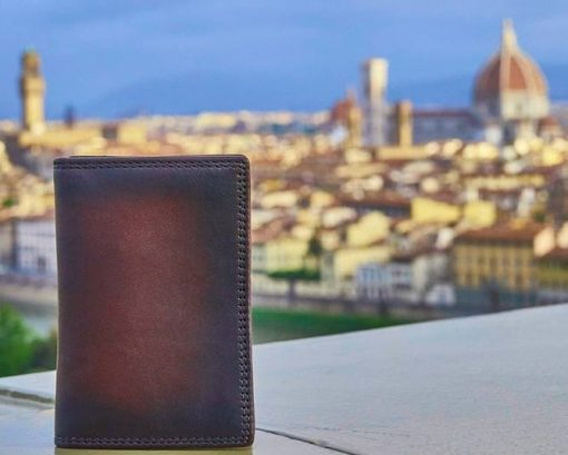 brown wallet in vintage retro leather from italy for man