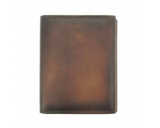 brown wallet in vintage retro real leather for man