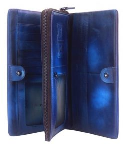 Wallet Pandora in vintage genuine leather Colour dark blue for women