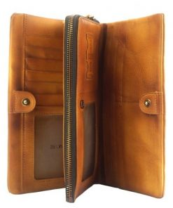 Wallet Pandora in vintage genuine leather Colour tan for men