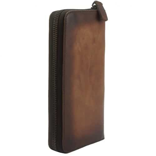 Wallet Reagan in vintage cow genuine leather Colour Dark Brown for men