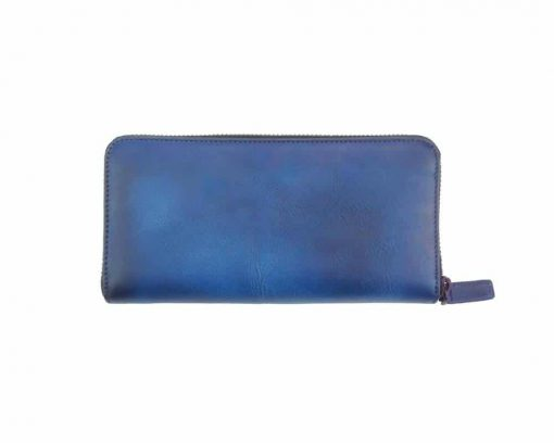 dark blue wallets Mariuca with leather lining in leather for woman