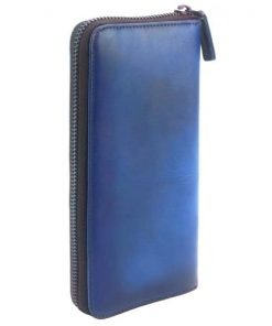 Wallet Perceval in vintage cow genuine leather Colour blue for women