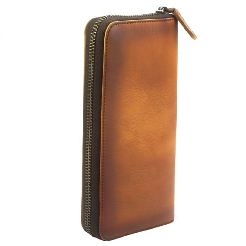 Wallet Perceval in vintage cow genuine leather Colour tan for women