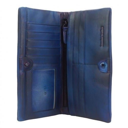 Big wallet Rolf in vintage leather Colour dark blue for men