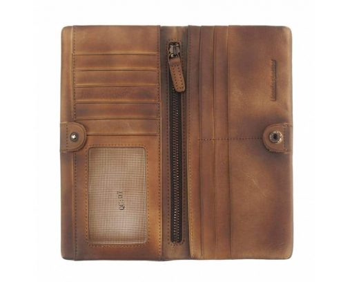 brown wallet in retro vintage leather Monica unisex