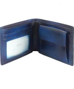 Wallet Romolo in vintage leather Colour dark blue for men