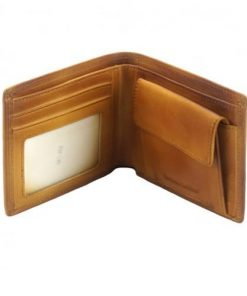 Wallet Romolo in vintage leather Colour tan for men