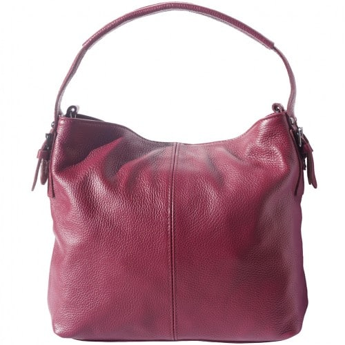 shoulder bag in genuine leather Freya colour bordeaux for women