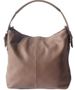 shoulder bag in genuine leather Freya colour dark taupe for women