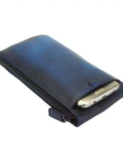 Wallet purse for telephone Rok in vintage genuine leather Colour dark blue for women