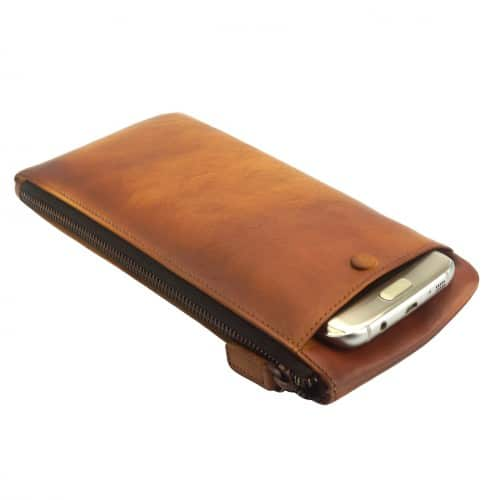 Wallet purse for telephone Rok in vintage genuine leather Colour tan for men