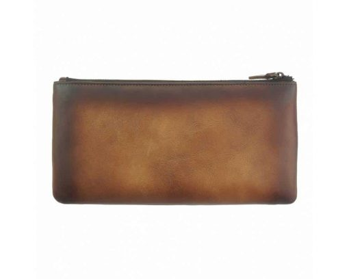 brown wallet in vintage real leather Minerva for woman