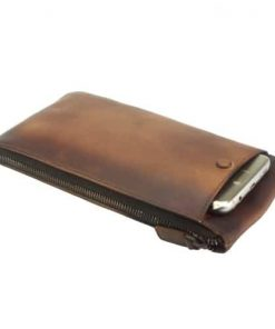 Wallet purse for telephone Rok in vintage genuine leather Colour brown for men