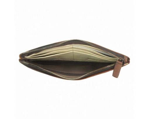 brown wallet in vintage leather Minerva for woman
