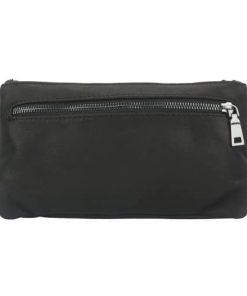 black waist bag in genuine soft leather keith men