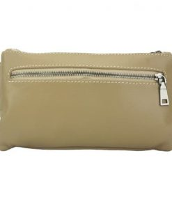 light taupe waist bag in genuine soft leather keith unisex