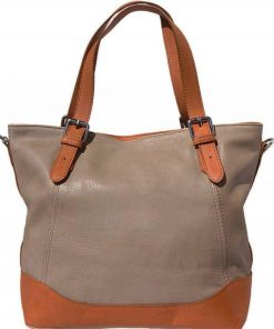 light taupe handbag of leather for woman