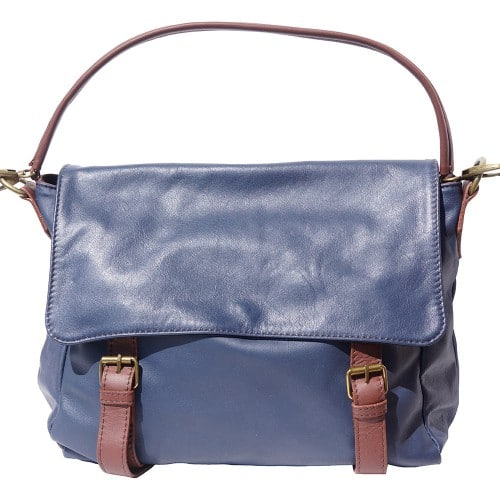 Freestyle bag in genuine leather Lynn Colour dark blue brown for women