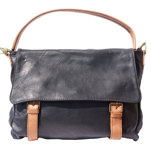 Freestyle bag in genuine leather Lynn Colour black tan for men