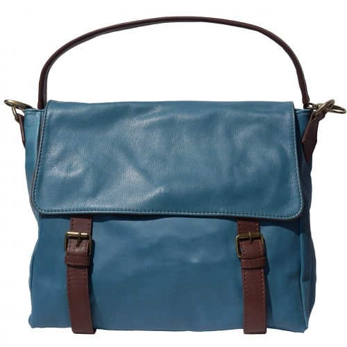 Freestyle bag in genuine leather Lynn Colour dark cyan brown for women