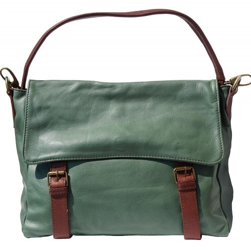 Freestyle bag in genuine leather Lynn Colour Dark Green Brown for women