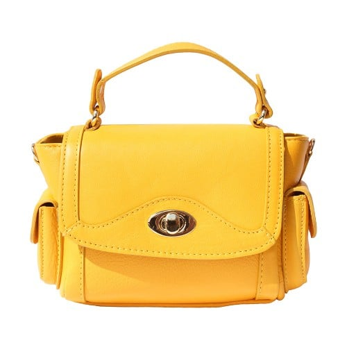 Small genuine leather handbag Enrica Colour yellow for women