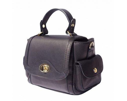 black italian handbag in real soft leather Yasmine for women