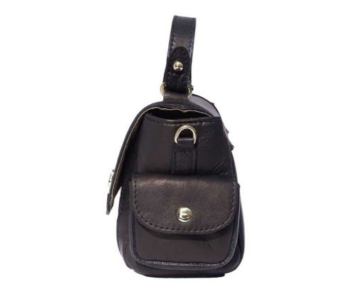 black italian bag in real soft leather Yasmine for women