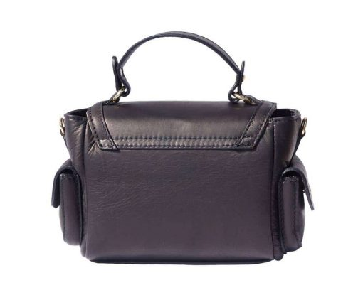 black italian bag in real leather Yasmine women