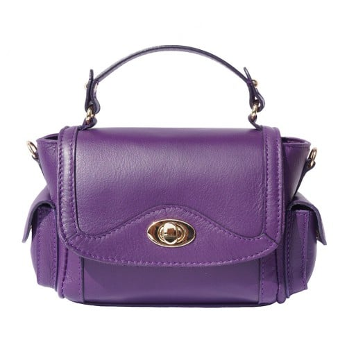 Small genuine leather handbag Enrica Colour Purple for women