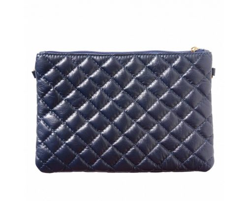 dark blue clutch in quilted genuine leather Delia woman