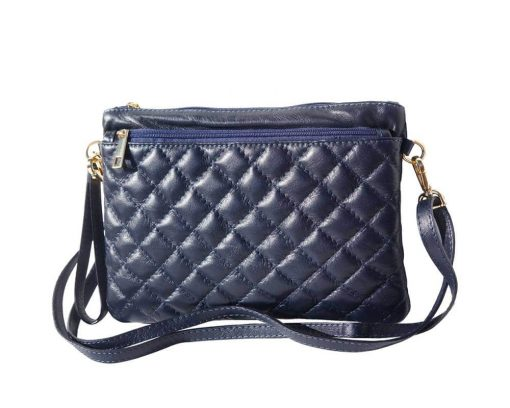 dark blue clutch in quilted leather Delia woman