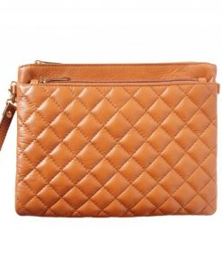 Wristlet in woven genuine leather Bruna Colour tan for women