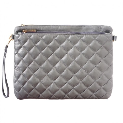 Wristlet in woven genuine leather Bruna Colour dark grey for women
