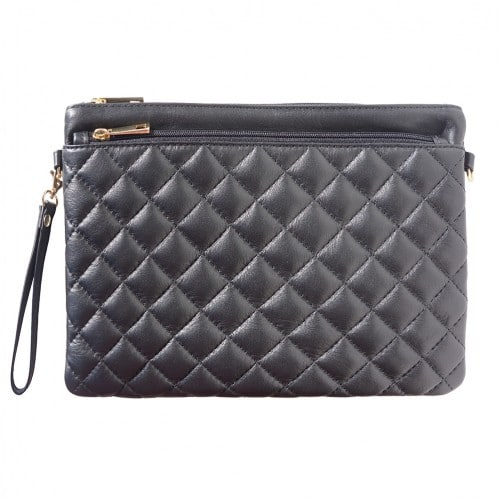 Wristlet in woven genuine leather Bruna Colour black for women