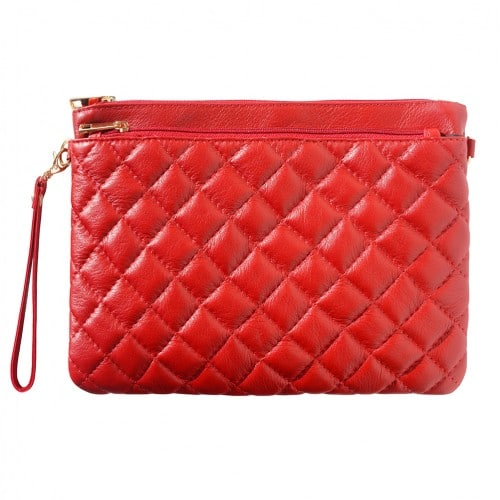 Wristlet in woven genuine leather Bruna Colour Dark red for women