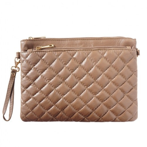 Wristlet in woven genuine leather Bruna Colour Dark taupe for women