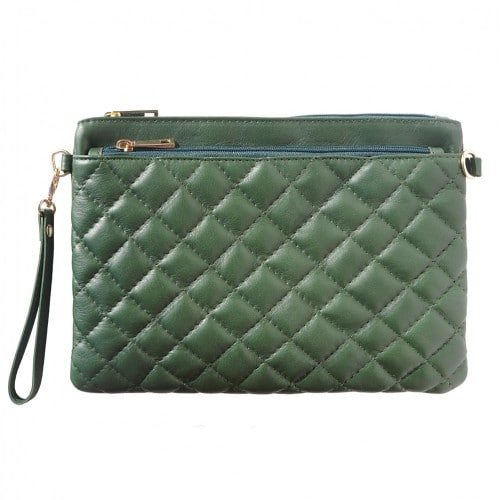 Wristlet in woven genuine leather Bruna Colour Dark green for women