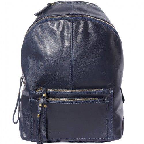 Backpack in smooth genuine calfskin Luciano Colour darl blue for women