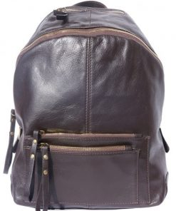 Backpack in smooth genuine calfskin Luciano Colour dark brown for women