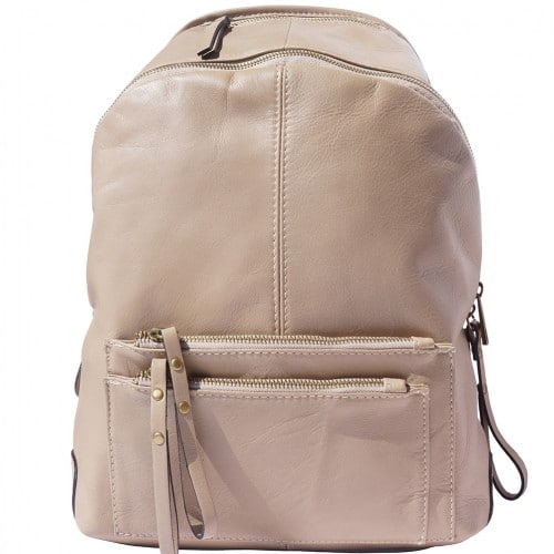 Backpack in smooth genuine calfskin Luciano Colour light taupe for men