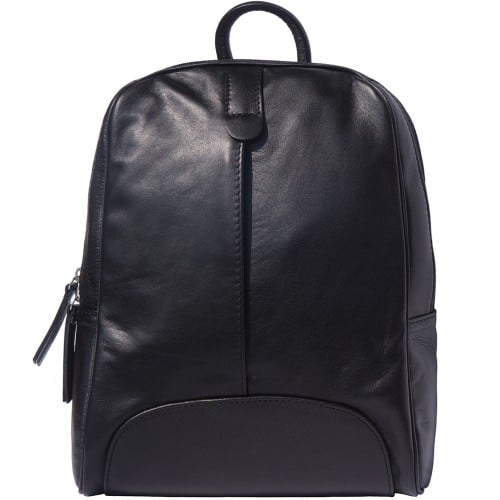 Backpack in smooth calfskin genuine leather Paola colour black for men