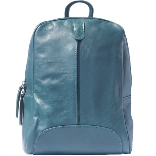 Backpack in smooth calfskin genuine leather Paola colour dark turquoise for women