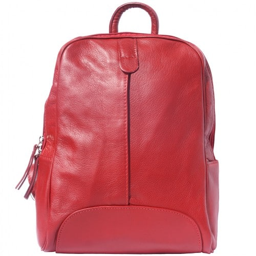 Backpack in smooth calfskin genuine leather Paola colour light red for women