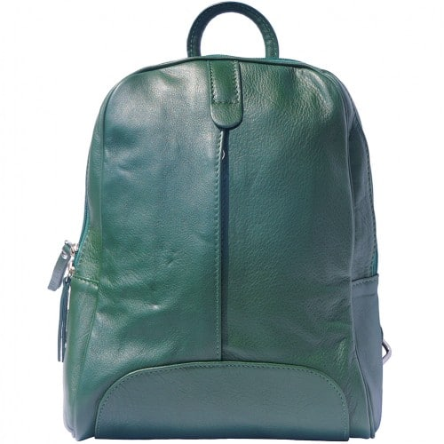 Backpack in smooth calfskin genuine leather Paola colour dark green for women