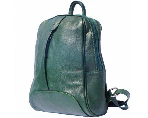 dark green backpack in real leather Paavo for woman