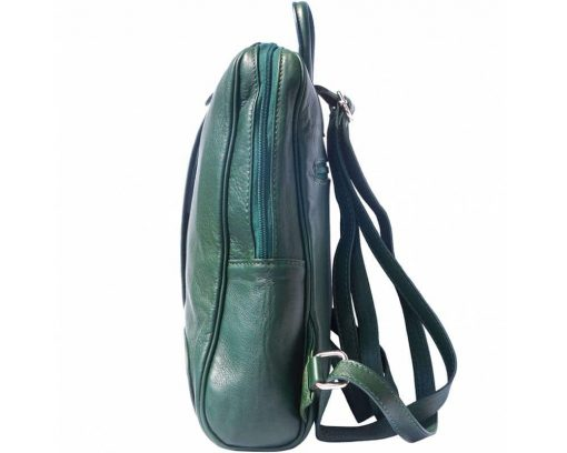 dark green backpack in genuine leather Paavo for woman