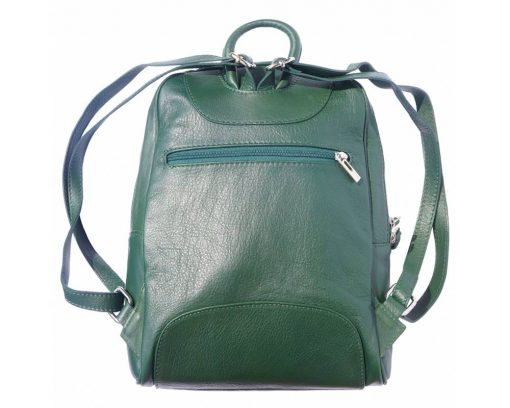dark green backpack in leather Paavo for woman